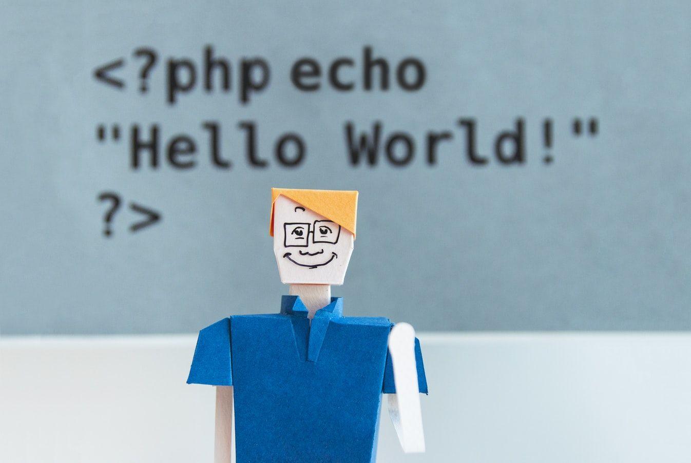 Un extrait de code PHP derrière un bonhome en carton qui sourit